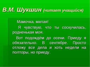 В.М. Шукшин (читает учащийся) Мамочка, милая! Я чувствую, что ты соскучилась