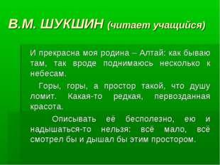 В.М. ШУКШИН (читает учащийся) И прекрасна моя родина – Алтай: как бываю там,
