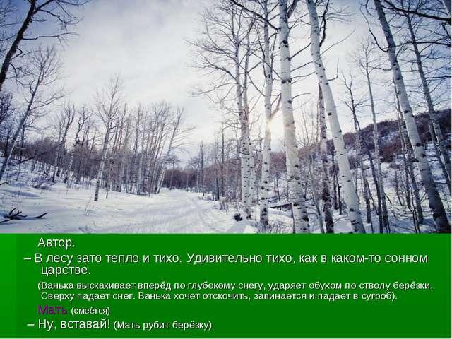 Автор. – В лесу зато тепло и тихо. Удивительно тихо, как в каком-то сонном ц...