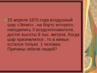 15 апреля 1875 года воздушный шар «Зенит» , на борту которого находились 3 во