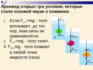 Архимед открыл три условия, которые стали основой науки о плавании Если FАРХ.