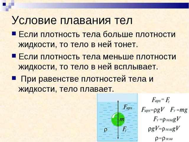 Условие плавания тел Если плотность тела больше плотности жидкости, то тело в...