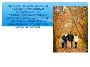 Прочная, нормальная семья, в которой присутствует толерантность во взаимоотн