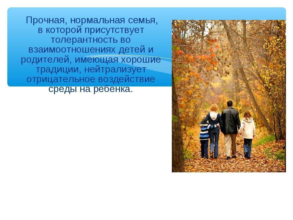 Прочная, нормальная семья, в которой присутствует толерантность во взаимоотн...