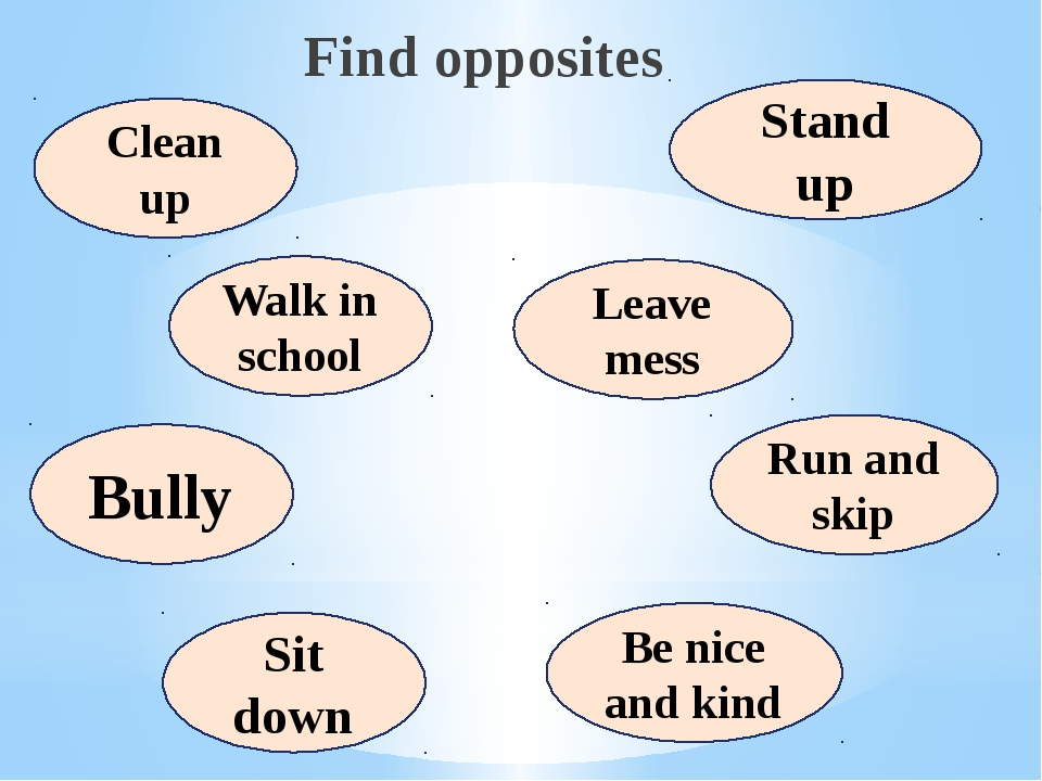 Find opposites Clean up Walk in school Bully Sit down Stand up Leave mess Ru...