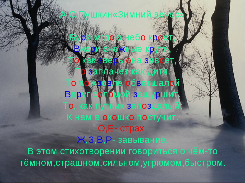 А.С.Пушкин«Зимний вечер» Буря мглою небо кроет, Вихри снежные крутя, То как з...