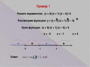 Пример 1 Решите неравенство: (х + 6) (х + 1) (х – 4)< 0 Рассмотрим функцию: у