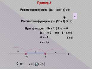 Пример 3 Решите неравенство: (5х + 1) (5 - х) ≥ 0 Рассмотрим функцию: у = (5х