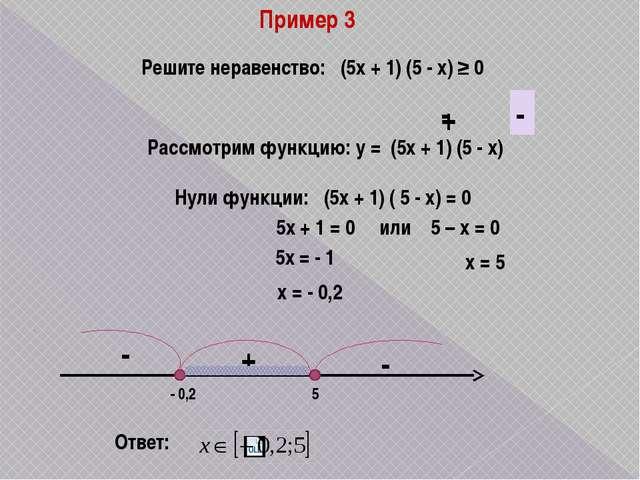 Пример 3 Решите неравенство: (5х + 1) (5 - х) ≥ 0 Рассмотрим функцию: у = (5х...