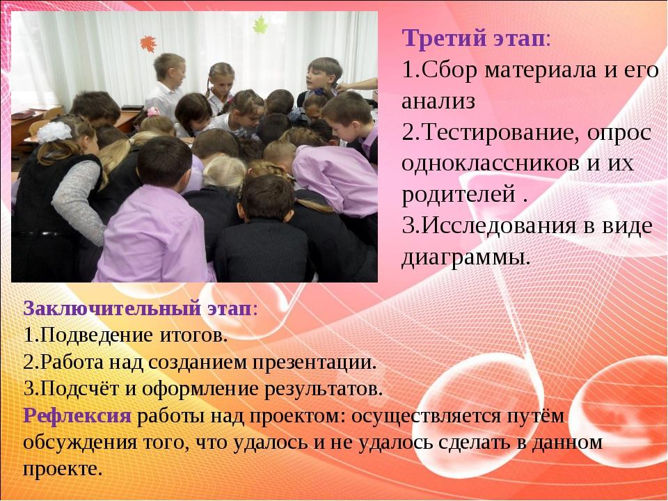 Третий этап: 1.Сбор материала и его анализ 2.Тестирование, опрос одноклассник...