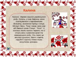 Калина - дерево нашого українського роду. Колись, у сиву давнину, вона пов'яз
