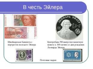 В честь Эйлера Швейцарская банкнота с портретом молодого Эйлера Почтовые марк