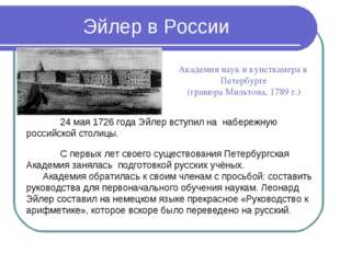 Эйлер в России Академия наук и кунсткамера в Петербурге (гравюра Мильтона, 17