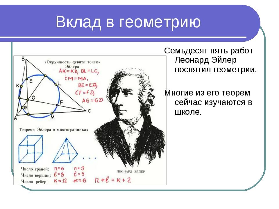 Вклад в геометрию Семьдесят пять работ Леонард Эйлер посвятил геометрии. Мног...