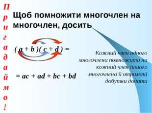 Щоб помножити многочлен на многочлен, досить ( а + b )( с + d ) = = ac + ad +