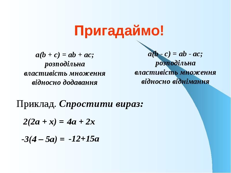 Пригадаймо! Приклад. Спростити вираз: a(b + c) = ab + ac; розподільна властив...