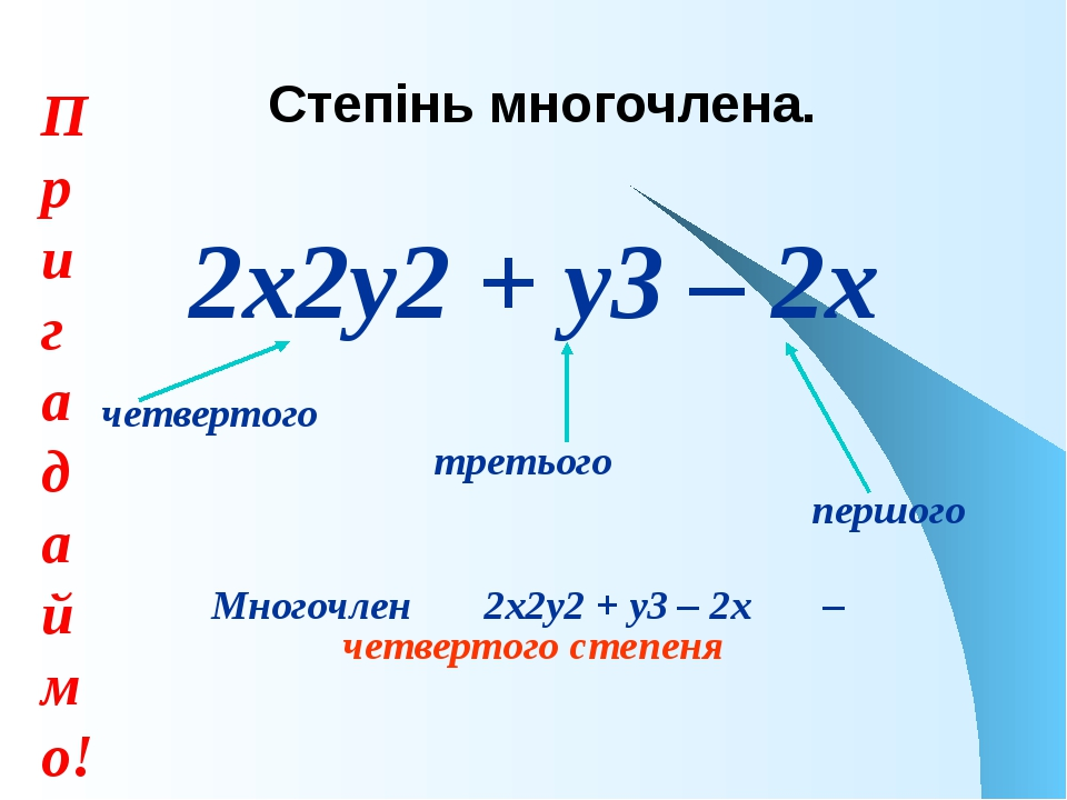 2х2у2 + у3 – 2х четвертого третього першого Многочлен 2х2у2 + у3 – 2х – четве...