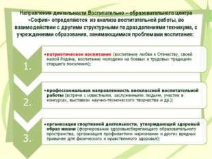 Направления деятельности Воспитательно – образовательного центра «София» опре