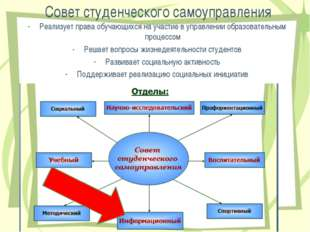 Совет студенческого самоуправления Реализует права обучающихся на участие в у