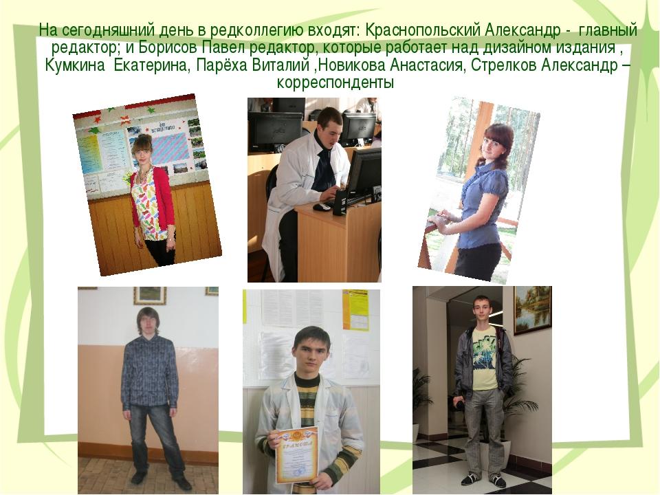 На сегодняшний день в редколлегию входят: Краснопольский Александр - главный...