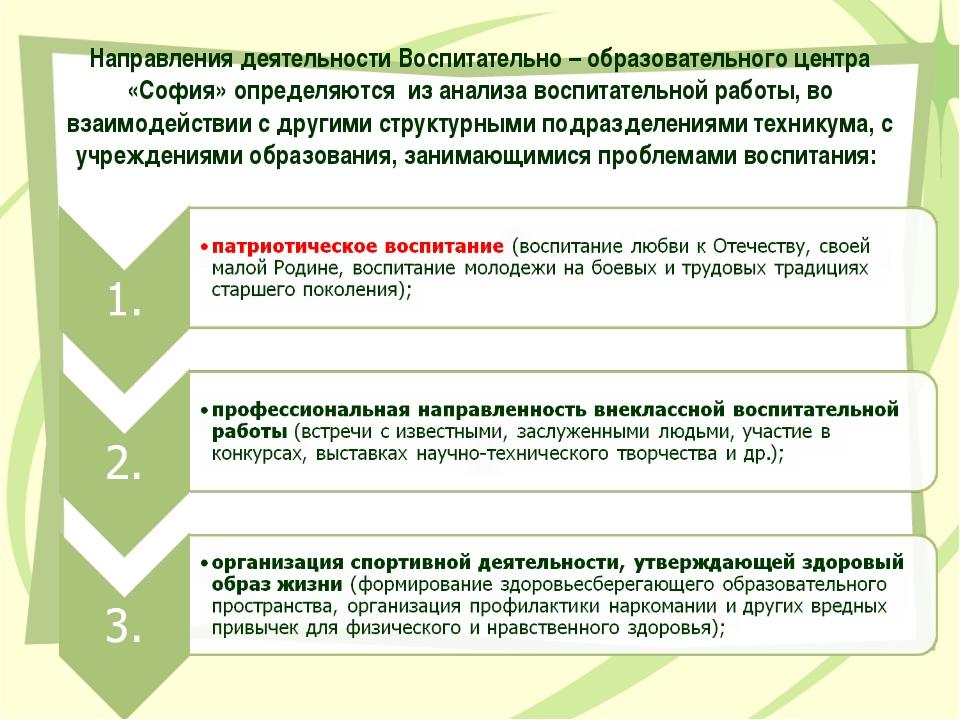 Направления деятельности Воспитательно – образовательного центра «София» опре...