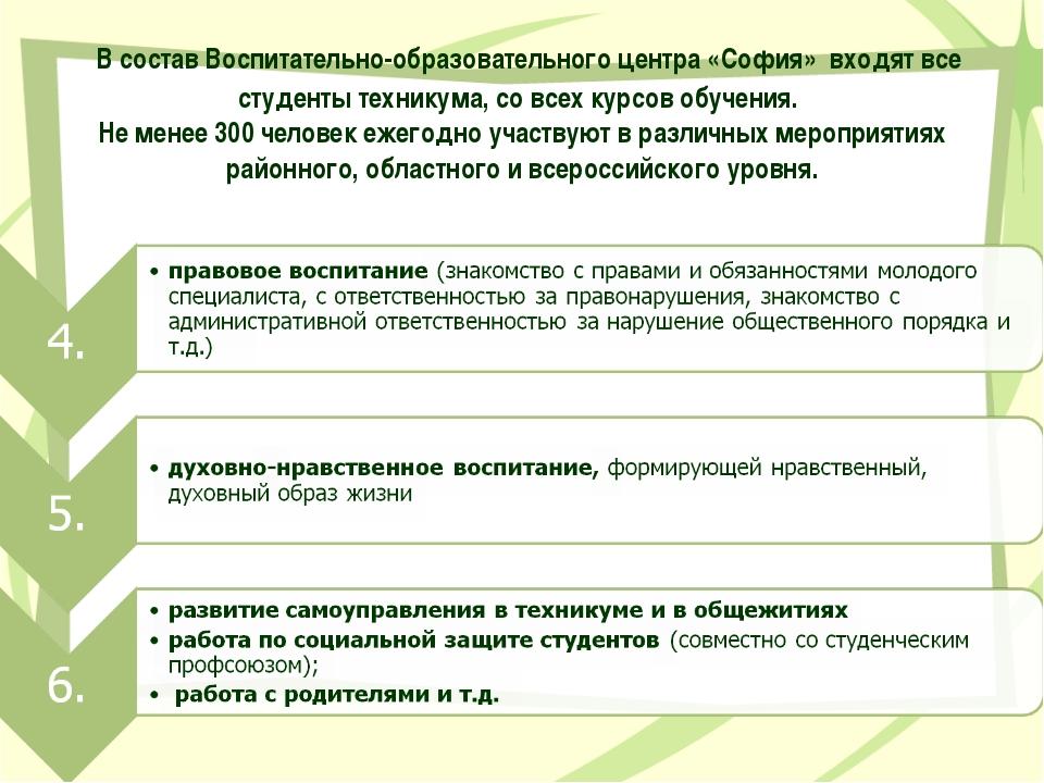 В состав Воспитательно-образовательного центра «София» входят все студенты т...