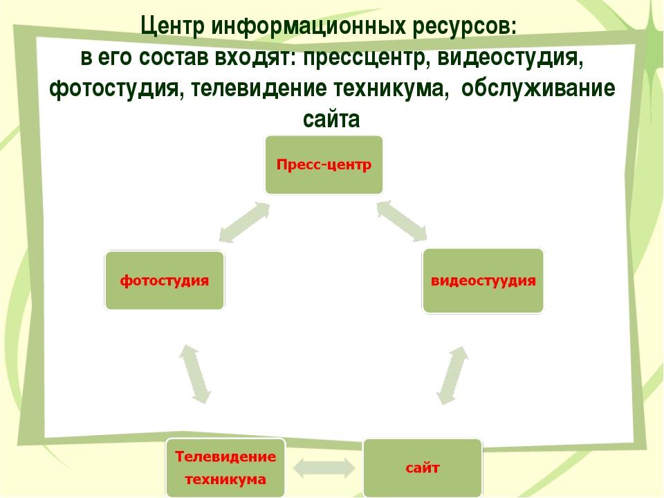 Центр информационных ресурсов: в его состав входят: прессцентр, видеостудия,...