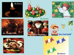 die Kerze der Kranz schmücken der Tannenbaum der Weihnachtsmann das Geschenk
