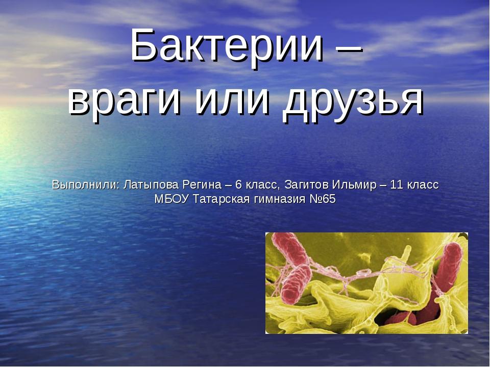 Бактерии – враги или друзья Выполнили: Латыпова Регина – 6 класс, Загитов Иль...