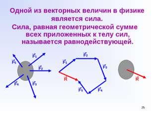 * Одной из векторных величин в физике является сила. Сила, равная геометричес