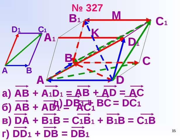 * № 327 AB + A1D1 = А А1 В1 С1 D1 M K D B C AB + AD = AC А В С1 D1 б) АВ + AD...