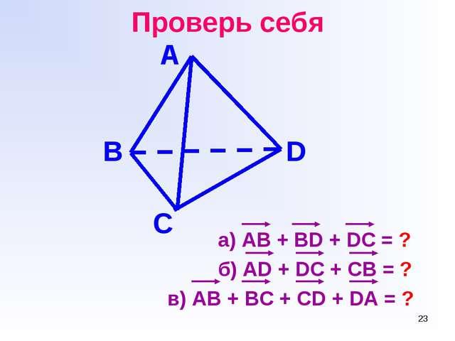 * Проверь себя а) АВ + BD + DC = ? б) AD + DC + CB = ? в) AB + BC + CD + DA =...