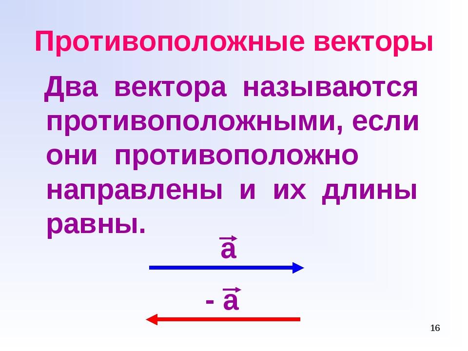* Противоположные векторы Два вектора называются противоположными, если они п...