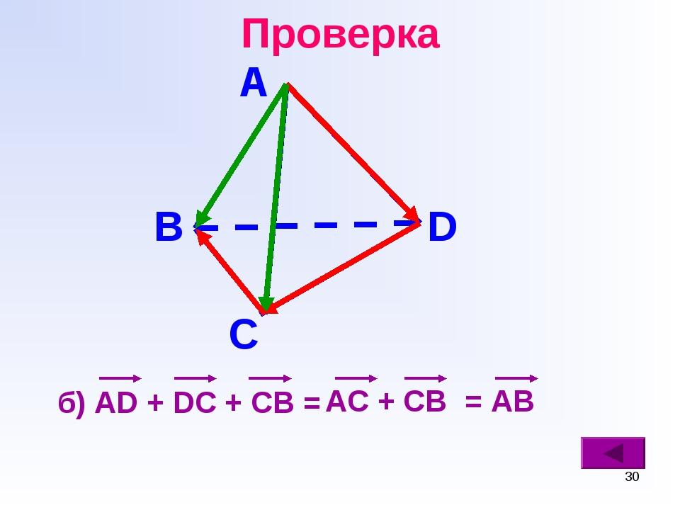 * Проверка б) AD + DC + CB = В С D А AC + CB = AB