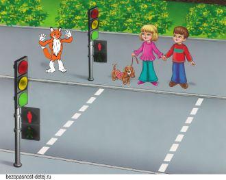 Безопасность дорожного движения для детей в картинках. Светофор