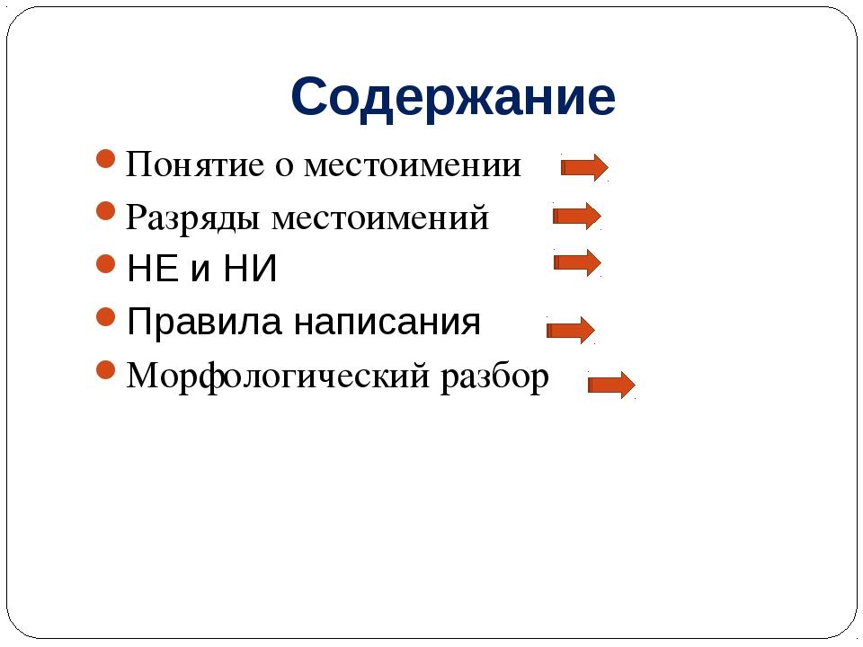 Содержание Понятие о местоимении Разряды местоимений НЕ и НИ Правила написани...