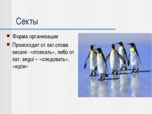 Секты Форма организации Происходит от лат.слова secare- «отсекать», либо от л