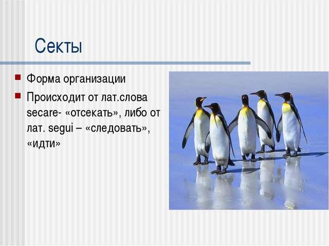 Секты Форма организации Происходит от лат.слова secare- «отсекать», либо от л...
