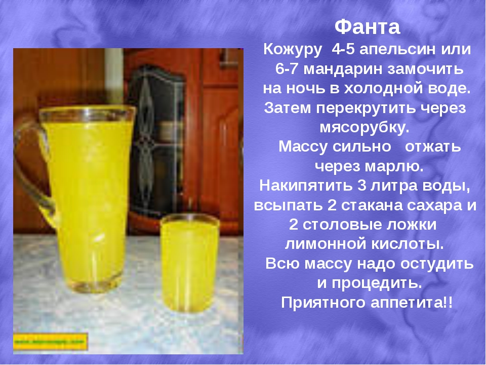 Фанта Кожуру 4-5 апельсин или 6-7 мандарин замочить на ночь в холодной воде....