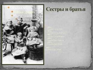 Сестры и братья 1892 г. Рождение сестры Веры. 1895 г. Рождение сестры Надежды
