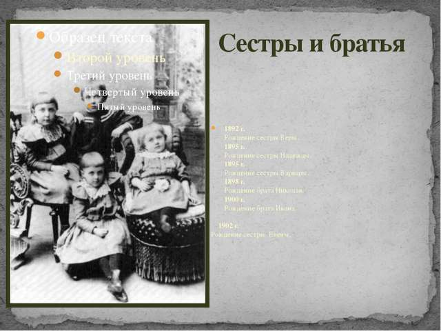 Сестры и братья 1892 г. Рождение сестры Веры. 1895 г. Рождение сестры Надежды...