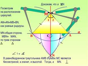a N B A C М Посмотрим на расположение циркулей. АМ=АN=MB=BN, как равные радиу