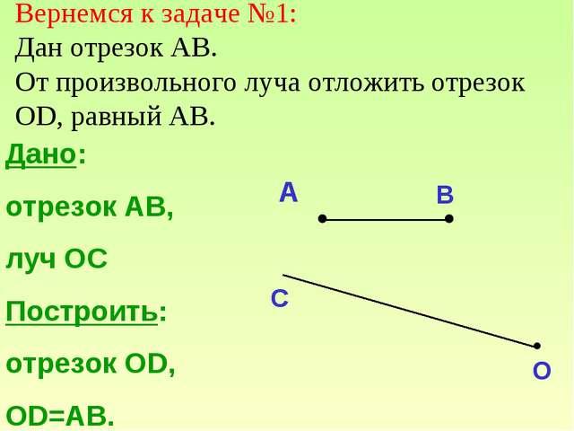 Дано: отрезок АВ, луч ОС Построить: отрезок ОD, OD=AB. A B C O Вернемся к зад...