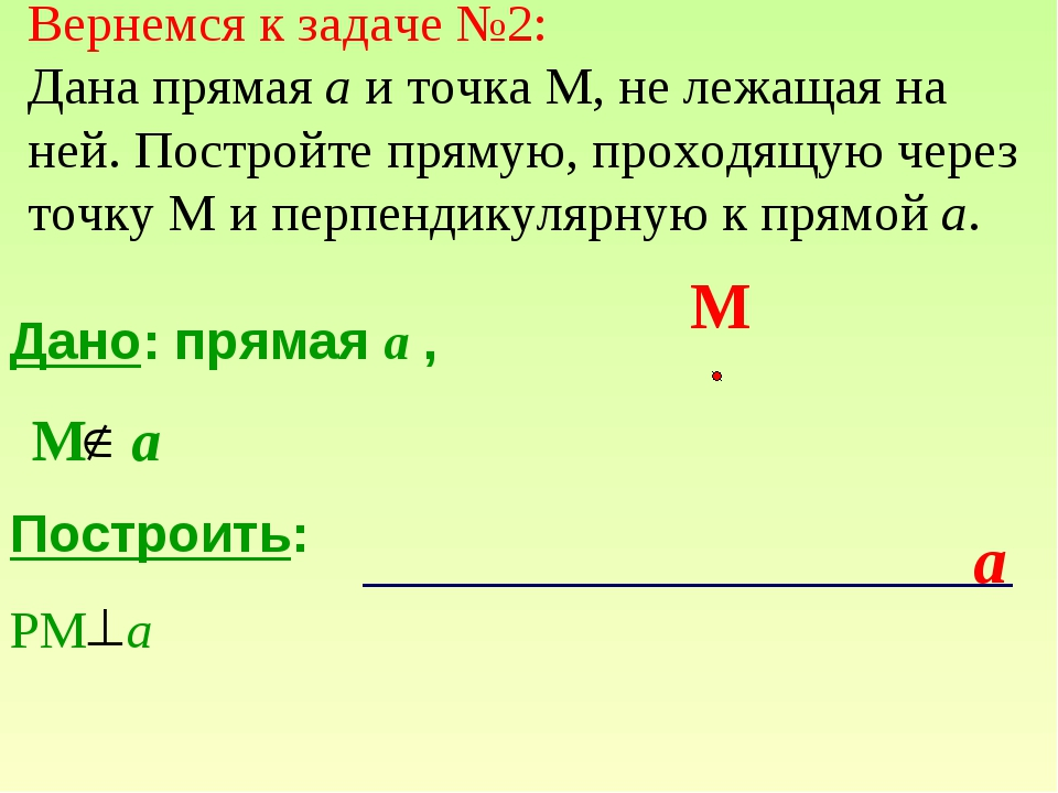 Дано: прямая a , Построить: РМ а М a a М Вернемся к задаче №2: Дана прямая а...