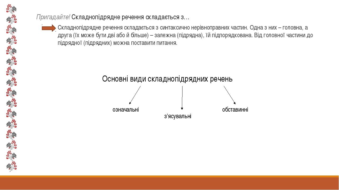 Пригадайте! Складнопідрядне речення складається з… Складнопідрядне речення ск...