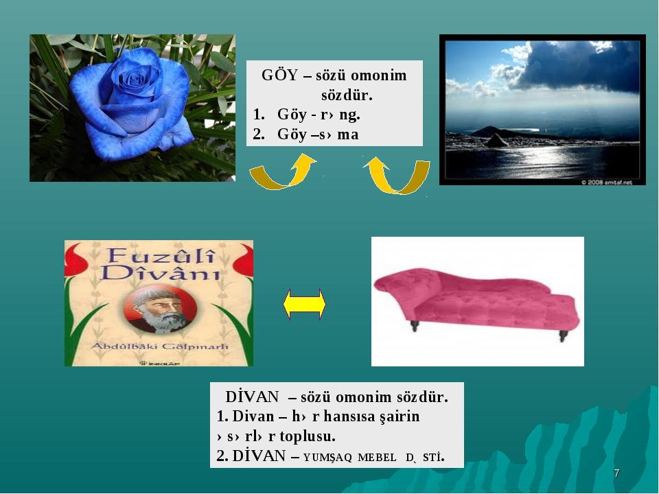 * DİVAN – sözü omonim sözdür. 1. Divan – hər hansısa şairin əsərlər toplusu....