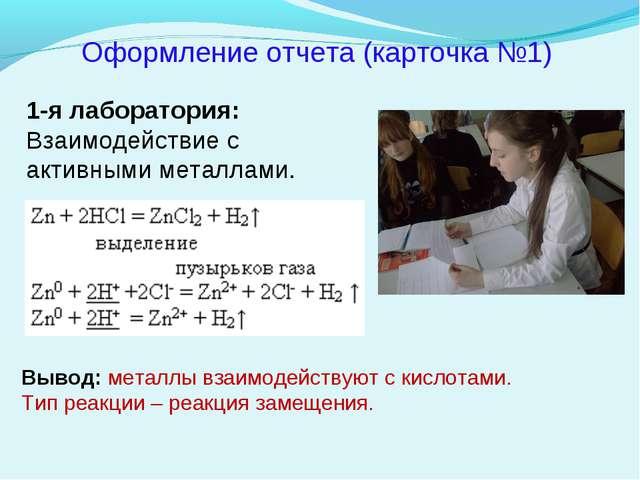 Оформление отчета (карточка №1) 1-я лаборатория: Взаимодействие с активными м...
