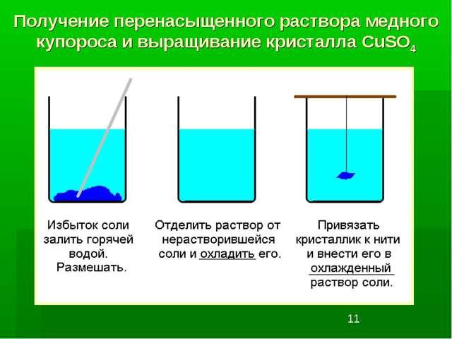 Получение перенасыщенного раствора медного купороса и выращивание кристалла C...