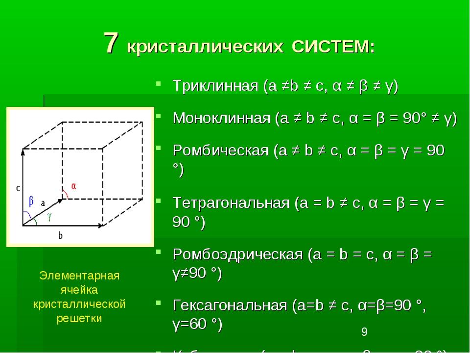 7 кристаллических СИСТЕМ: Триклинная (a ≠b ≠ c, α ≠ β ≠ γ) Моноклинная (a ≠ b...
