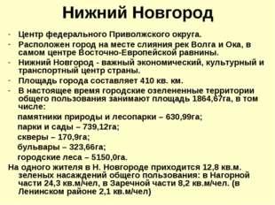 Нижний Новгород Центр федерального Приволжского округа. Расположен город на м